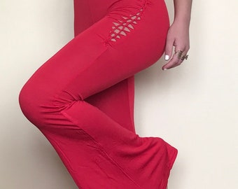 XS/S fiery red strappy back slit weave flare jumpsuit