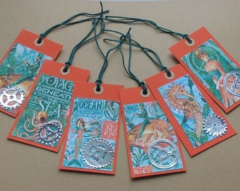 Set of 6 nautical steampunk themed gift tags
