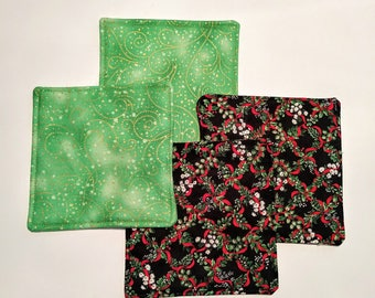 Coasters, Fabric Coasters, Holiday Coasters, Quilted Coasters