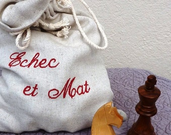 Bag embroidered for chess pieces