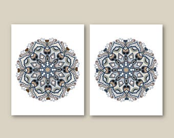 Mandala Geometric Art Prints, Neutral Wall Art Set of (2) Many Sizes, Watercolor, Grey, Beige Indigo Blue Modern Decor, Unframed