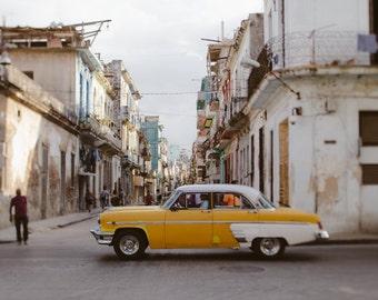 "Cuba Photography, Central Havana Cuba, Street Photography, Yellow Vintage Car, Travel Photography, Cuba Wall Art Print ""Amarillo"""