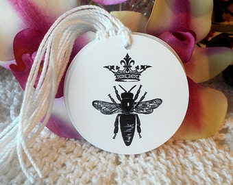 Bee and Crown Gift Tags Hang Tags Shabby Chic Cottage Style Black White French Style Party Tags Price Tags Gifts Tea Party Favors