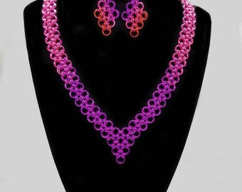 Violet, Pink and Red Ombre Japanese Lace Necklace and Earring Set