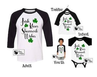 Irish Kisses Shamrock Wishes Shirt; St Patricks Day Shirt; Infant Creeper; Shamrock Super Soft Unisex Raglan / Baseball TShirt (B3200) #1394