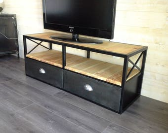 Furniture industrial tv blackened steel and wood
