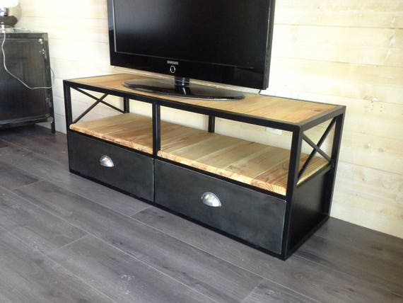 meuble industriel tv acier noirci et bois. Black Bedroom Furniture Sets. Home Design Ideas
