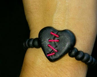 handmade clay and guitar string heart bracelet for music lovers