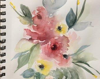 Watercolor Floral Mason Jar Painting