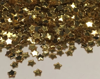 tiny gold color star confetti / sequins, 3 mm (45)M