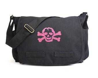 Scribble Skull Messenger Bag, Skull Bag, Diaper Bag, Crossbody, Punk Diaper Bag, Baby Shower Gift, Men & Women Bag, Messenger Bag