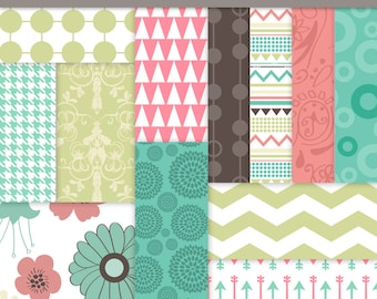 Digital Paper Commercial Use Flower Paper Tribal Paper Retro Patterns