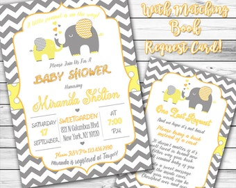 Elephant Baby Shower Invitation, Yellow and Gray Elephant Baby Shower Invitation, Gender Neutral Baby Shower, Little Peanut, Book instead