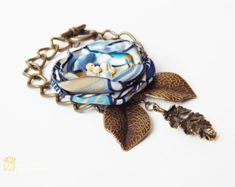 Bronze bracelet. Fabric cuff bracelet. Boho bronze bracelet, Handmade bracelet. Woman accesories. Romantic Bracelet. Woman gift