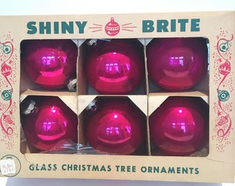 Vintage Glass Shiny Brite Christmas Bulb Ornaments Original Box  - Large Bulbs - Hot Pink -  Set of 6