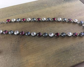 Ruby,  charcoal, and clear Swarovski Crystals 8.5mm