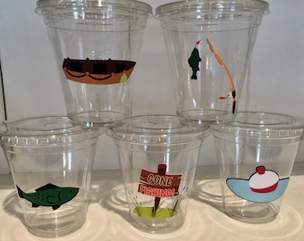 12 oz  fishing/the big ONE theme party cups and lids