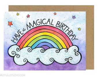 Have a Magical Birthday Card, Fun Birthday Card, Rainbow Birthday, Birthday Card for Friend, Best Friend Birthday, Birthday Card Child