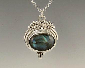 Silver Labradorite Necklace/ Labradorite Pendant/ One of a Kind Labradorite Jewelry/ Labradorite Jewelry/ Gift for Her/ Victorian Necklace