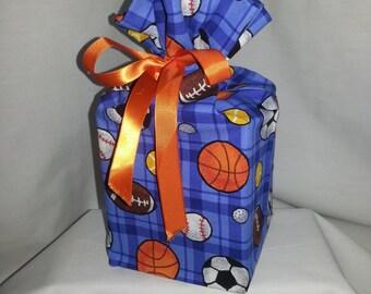 Tissue Box Cover - Fabric Kleenex Box Cover - All Sports Fabric - Handmade - Bedroom Decor - Bathroom Decor - Square Tissue Box Cover
