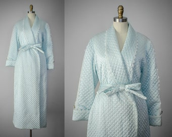 Christian Dior robe | blue quilted robe | long blue robe | designer robe | vintage robe | vintage loungewear