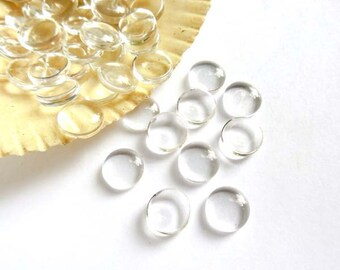 25 Clear Glass Cabochons 8mm - 14-11