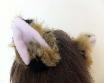 Brown Black Calico Fluffy Faux Fur Cosplay Furry Cat Ears Hair Clips Halloween Costume Fursuit Winter Luxury Realistic Pink