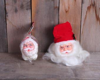 Vintage Pair 1980s Kitschy KMart Santa Claus Ornament Heads