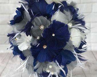 Navy blue bouquet,Feather bouquet,Wedding bouquet,Gatsby bouquet,Cascading Bridal bouquet, Gatsby wedding,Brooch bouquet,Feather flower