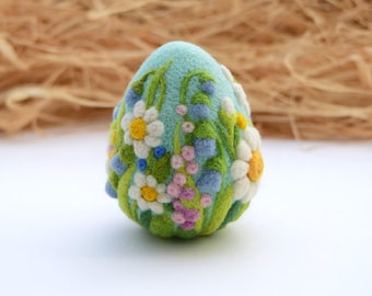 Easter Eggs Felted Wool Ornaments Easter Decorations Easter Basket Gift Egg Needle Felted Ornament with Flower