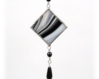 Stained Glass Light Catcher Suncatcher Black White Color Choice