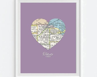 Toledo Ohio Heart Vintage Map ART PRINT City map art, state map gift, housewarming, moving, christmas gift for her, wedding gift, All Sizes