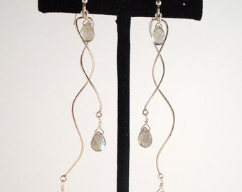 sterling silver spiral labradorite dangle earrings