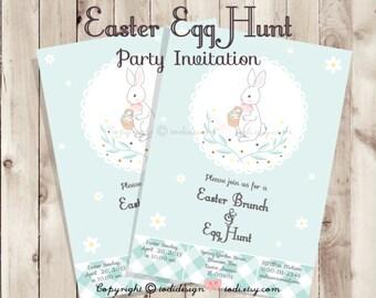 SALE Easter Egg Hunt Party Invitation - Printable digital file - Easter Brunch, Easter Egg Hunt