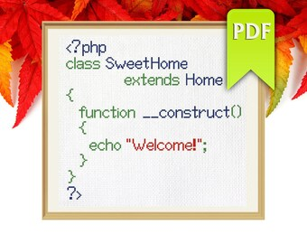 Home Sweet Home in PHP cross stitch pattern for programmers. Instant Download!