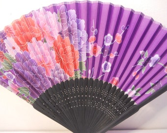 Lavender Purple Floral Silk Handheld Fan Folding Fans Asian Hand Fan  #Fan161