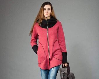 Women's sweatshirt, Jacket,Hoodie, Unusual,Long hoodie, Women's Hoodie, Warm hoodie, Cotton Hoodie, Raspberry&Black Hoodie, Unusual Designe