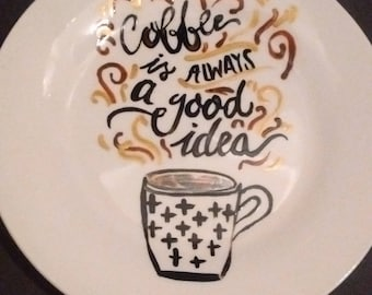 Hand painted Coffee lovers side plate