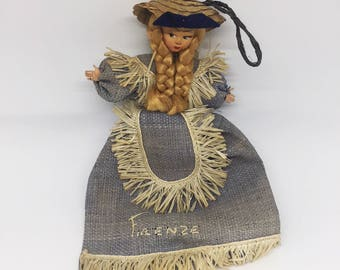 Vintage straw dolly coin purse