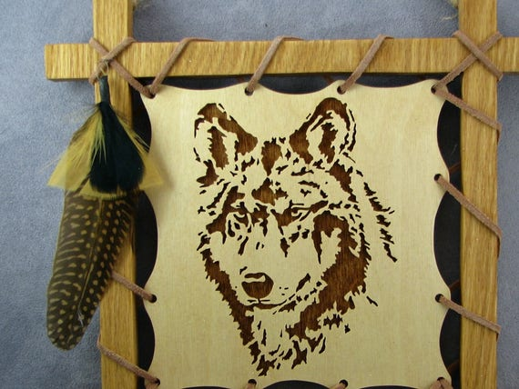 Wolf Plaque with feathers in brown wall hanging wolf wall