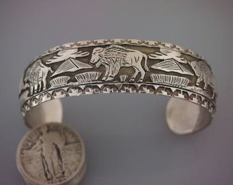 Detailed Sterling Silver  Navajo Story Teller Overlay Cuff Bracelet with Buffalo - 28.0 grams - Signed