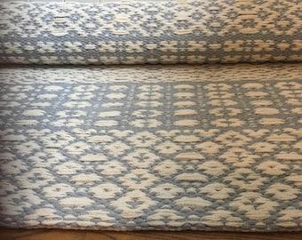 Blue white Scandinavian 5x7 rug runner, kitchen rugs, gray white rug, cotton handwoven rug, handmade rag rug, washable nursery rug.