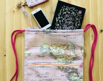 Mochila, mapa, mochila saco, mochila joven, tela mapa, regalo, rosa, amarillo, bolsa playa, bolsa gimnasio, monedero, cordón, mujer, rosa