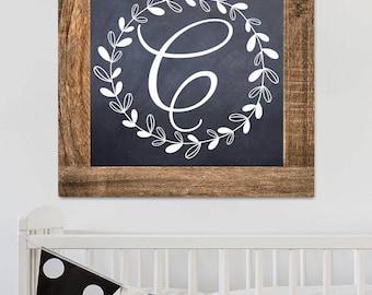 Monogramed Pine Frame Chalkboard Style Children's Bedroom Wall Art WD0012