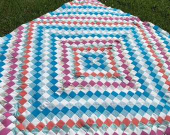 Quilt Top / Polyester Pieced Quilt Top / Vintage Pieced Quilt Top / Quilt Work In Progress / Quilt WIP / Vintage Polyester
