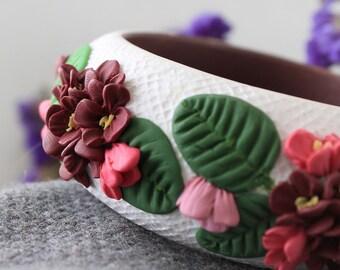 Polymer Clay Bangle Bracelet, Polymer Clay Bracelet, Handmade Polymer Clay Bangle, Large Bracelet, Round Bracelets, Cuff  Bracelet