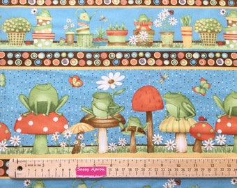 Hip Hop Garden Frogs Border Mushroom Blue Color ~  Buy More and Save ~ Hip Hop Garden Collection by Debbie Mumm, Quilting Cotton  fabric