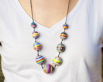 Magazine paper balls necklace, FREE SHIPPING, Anniversary gift for her - recycled jewelry - modern statement necklace - fashion necklace