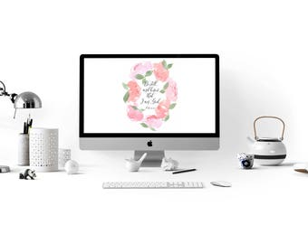 """Desktop Screensaver - Watercolor Peony Wreath """"Be Still and Know that I am God."""" Psalm 46:10"""
