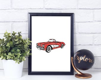 Red Corvette Watercolor// Vintage// Printable